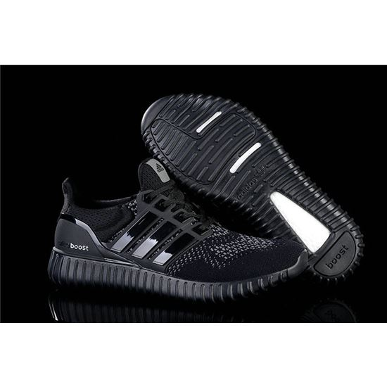 Hot Black Adidas Ultra Boost Mens Running Shoes Black Grey