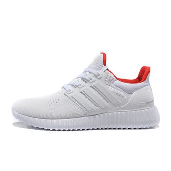 Beautiful Adidas Ultra Boost Mens Running Shoes White Red Cheapest Online