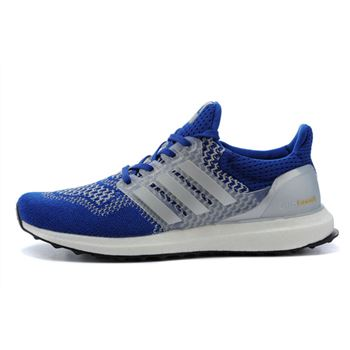 Low Cost Adidas Ultra Boost Mens Running Shoes Blue White Top Quality