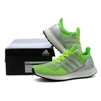 Adidas Ultra Boost Women Silver White Green Free Shipping