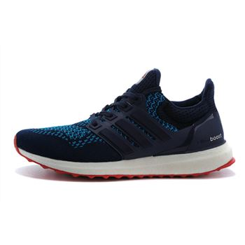 Beautiful Adidas Ultra Boost Mens Running Shoes Dark Blue Red Usa On Sale