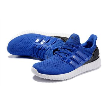 Fashion Adidas Ultra Boost Mens Running Shoes Blue Black Low Price Sale