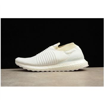 Adidas Ultra Boost 4.0 Uncaged Laceless All White Shoes